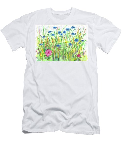 Men's T-Shirt (Slim Fit) featuring the painting Bachelor Button Meadow by Cathie Richardson