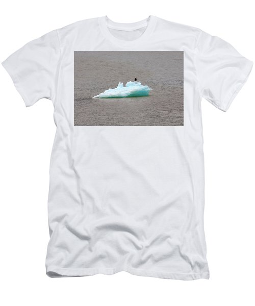 Bald Eagle On Blue Glacial Ice Men's T-Shirt (Athletic Fit)
