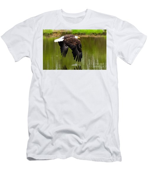 Bald Eagle Over A Pond Men's T-Shirt (Athletic Fit)
