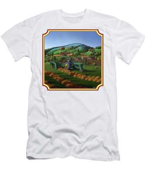 Baling Hay Field - John Deere Tractor - Farm Country Landscape Square Format Men's T-Shirt (Athletic Fit)