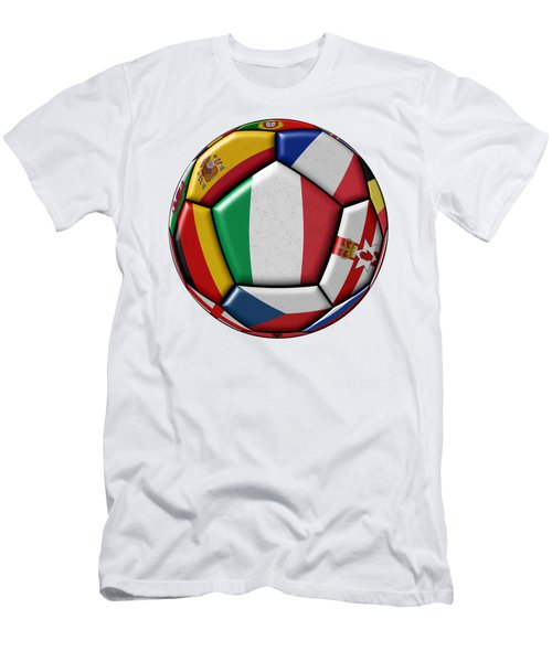 Ball With Flag Of Italy In The Center Men's T-Shirt (Slim Fit) by Michal Boubin