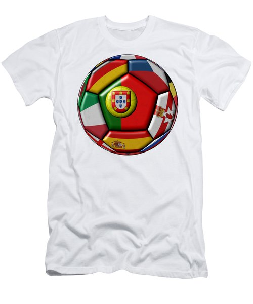 Ball With Flag Of Portugal In The Center Men's T-Shirt (Slim Fit) by Michal Boubin