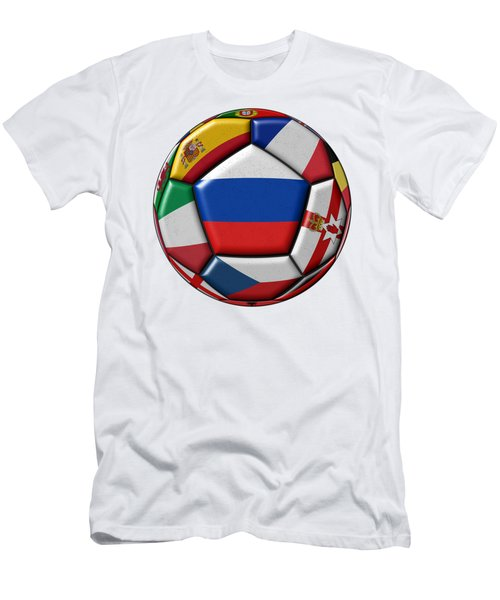 Ball With Flag Of Russia In The Center Men's T-Shirt (Slim Fit) by Michal Boubin