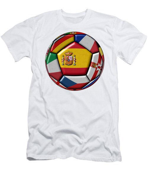 Ball With Flag Of Spain In The Center Men's T-Shirt (Slim Fit) by Michal Boubin