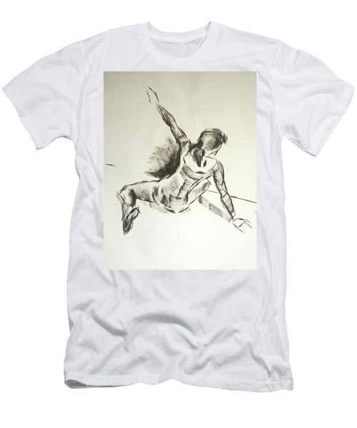 Ballet Dancer Sitting On Floor With Weight On Her Right Arm Men's T-Shirt (Athletic Fit)