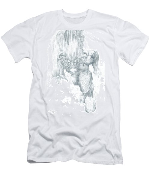 Men's T-Shirt (Slim Fit) featuring the drawing Balrog Sketch by Curtiss Shaffer