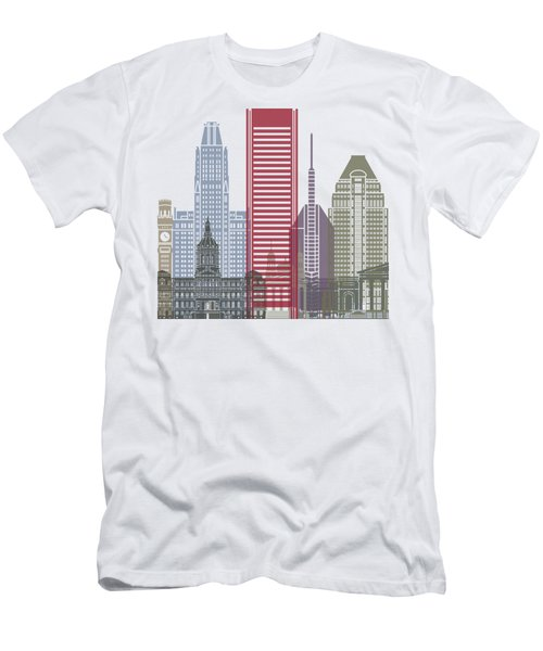 Baltimore Skyline Poster Men's T-Shirt (Athletic Fit)
