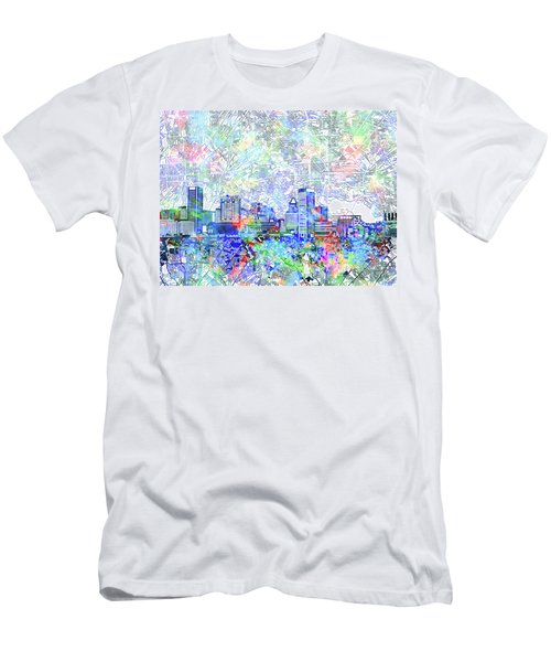 Men's T-Shirt (Slim Fit) featuring the painting Baltimore Skyline Watercolor 10 by Bekim Art