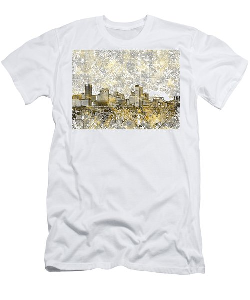 Men's T-Shirt (Slim Fit) featuring the painting Baltimore Skyline Watercolor 8 by Bekim Art