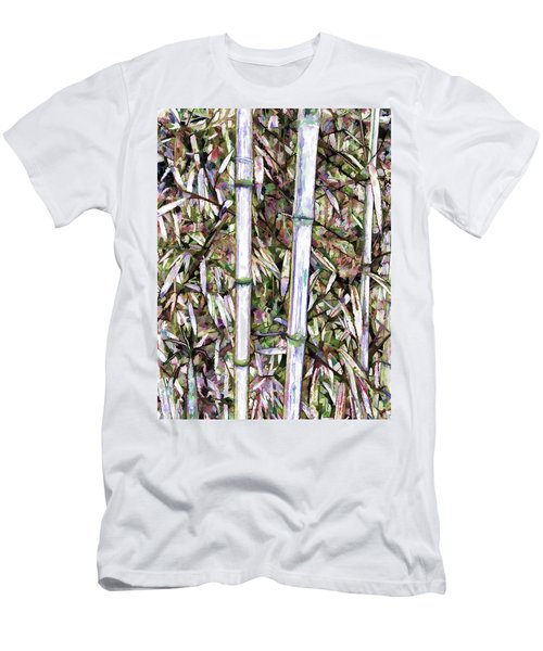 Men's T-Shirt (Slim Fit) featuring the painting Bamboo Stalks by Lanjee Chee