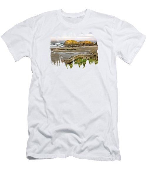 Bandon Beach Stairway Men's T-Shirt (Athletic Fit)
