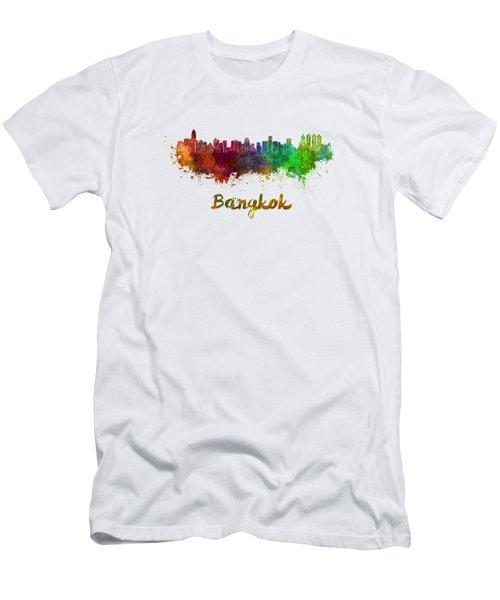 Bangkok Skyline In Watercolor Men's T-Shirt (Athletic Fit)