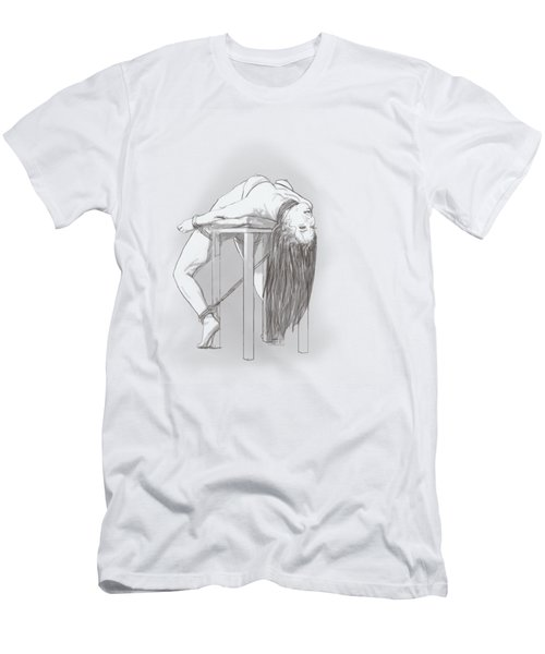 Men's T-Shirt (Slim Fit) featuring the mixed media Bar Chair Bw by TortureLord Art