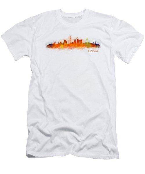 Barcelona City Skyline Hq _v3 Men's T-Shirt (Slim Fit) by HQ Photo
