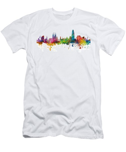 Barcelona Spain Skyline Panoramic Men's T-Shirt (Athletic Fit)
