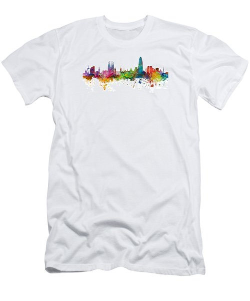 Barcelona Spain Skyline Panoramic Men's T-Shirt (Athletic Fit)