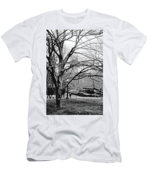 Men's T-Shirt (Slim Fit) featuring the photograph Bare Tree On Walking Path Bw by Sandy Moulder