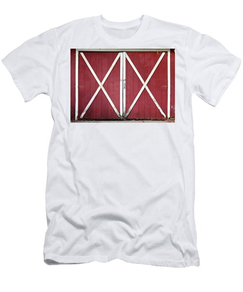 Men's T-Shirt (Slim Fit) featuring the photograph Red Barn Doors by Sheila Brown