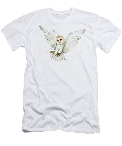 Barn Owl Flying Watercolor Men's T-Shirt (Athletic Fit)