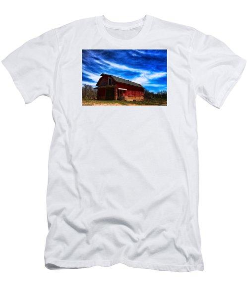 Barn Under Blue Sky Men's T-Shirt (Slim Fit) by Toni Hopper