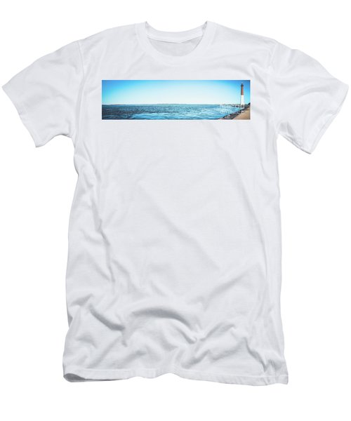 Men's T-Shirt (Slim Fit) featuring the photograph Barnegat Light Panorama by Colleen Kammerer