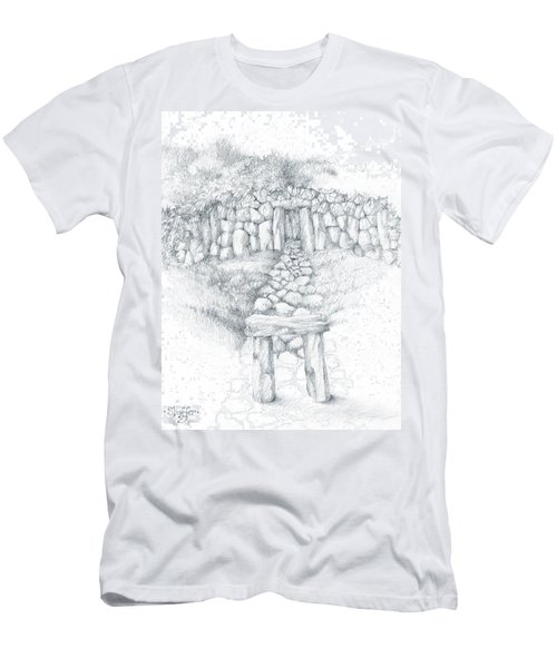 Men's T-Shirt (Slim Fit) featuring the drawing Barrow Tomb by Curtiss Shaffer