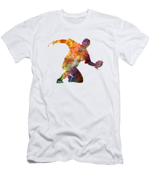 Baseball Player Catching A Ball Men's T-Shirt (Slim Fit) by Pablo Romero
