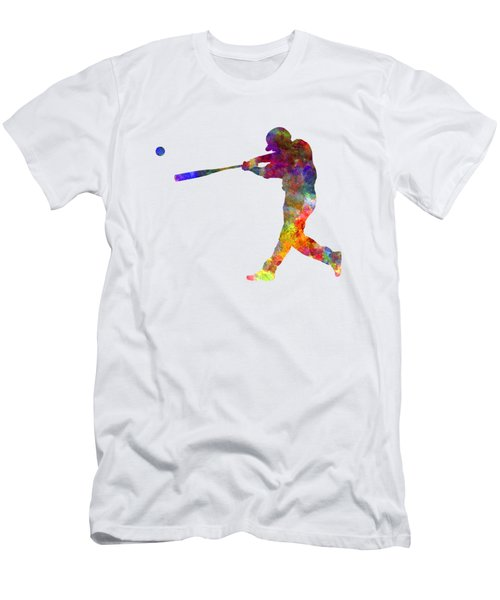Baseball Player Hitting A Ball 02 Men's T-Shirt (Slim Fit) by Pablo Romero