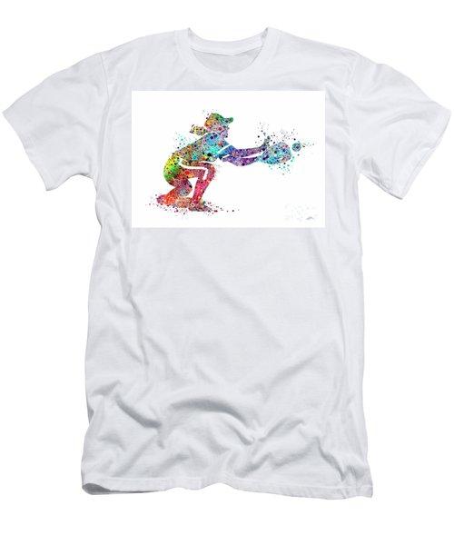 Baseball Softball Catcher 2 Sports Art Print Men's T-Shirt (Slim Fit) by Svetla Tancheva