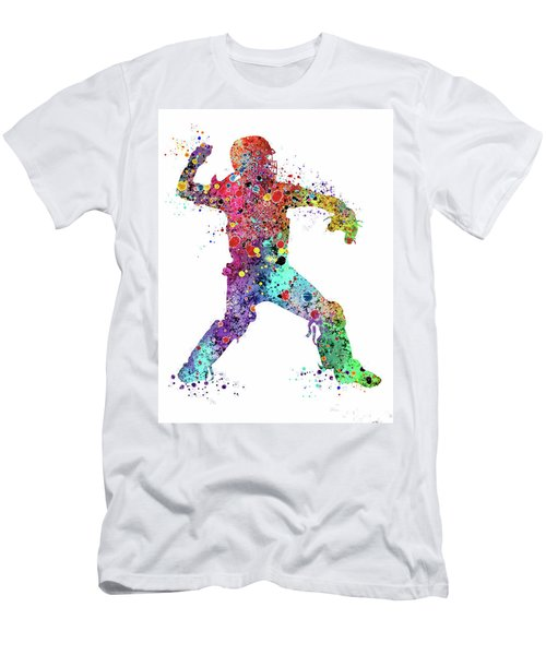 Baseball Softball Catcher 3 Watercolor Print Men's T-Shirt (Slim Fit)