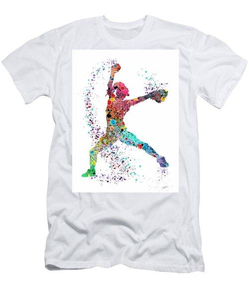Baseball Softball Pitcher Watercolor Print Men's T-Shirt (Slim Fit) by Svetla Tancheva