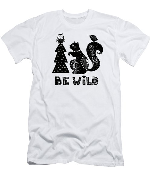 Be Wild Cute Owl And Squirrel In Scandinavian Style Men's T-Shirt (Athletic Fit)