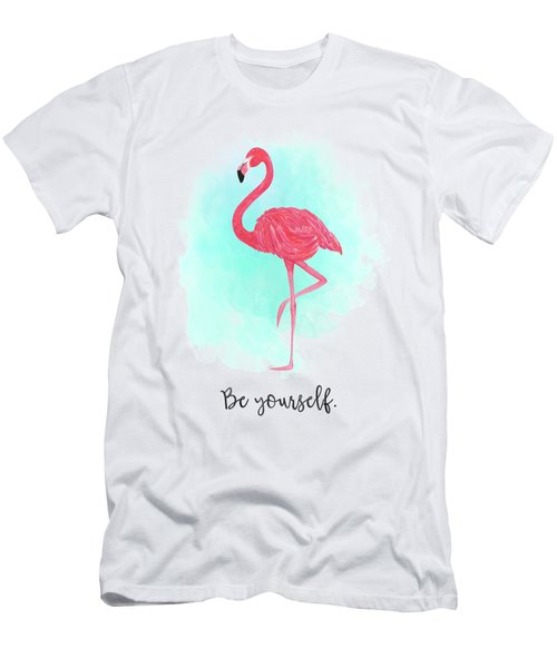 Be Yourself Flamingo Print Men's T-Shirt (Slim Fit) by Donna Gilbert