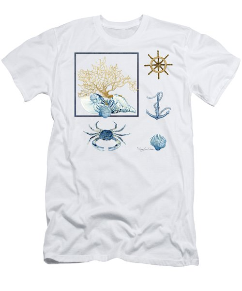 Beach House Nautical Seashells Ships Wheel Anchor N Crab Men's T-Shirt (Slim Fit) by Audrey Jeanne Roberts