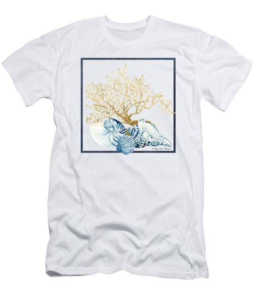 Beach House Nautilus Scallop N Conch With Tan Fan Coral Men's T-Shirt (Slim Fit) by Audrey Jeanne Roberts
