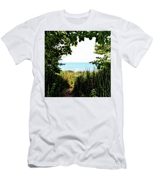 Men's T-Shirt (Athletic Fit) featuring the photograph Beach Path With Snake Grass by Michelle Calkins