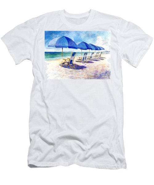 Men's T-Shirt (Athletic Fit) featuring the painting Beach Umbrellas by Andrew King