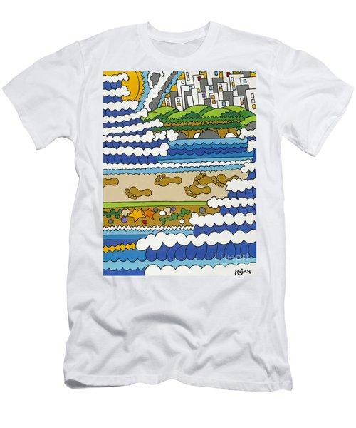 Beach Walk Foot Prints Men's T-Shirt (Slim Fit) by Rojax Art
