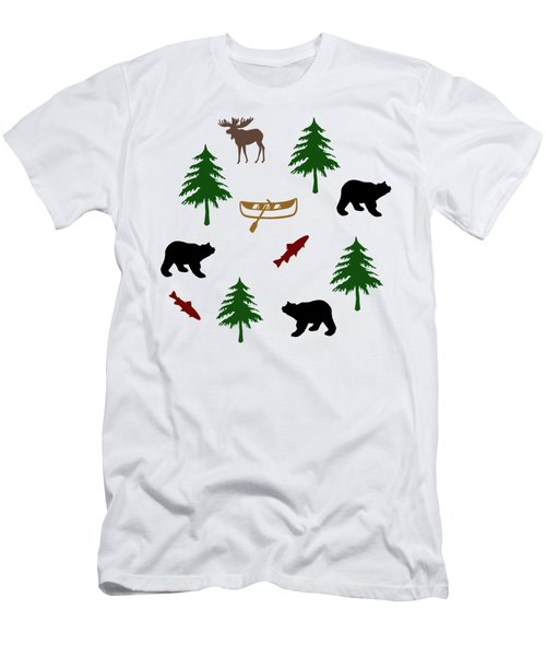 Men's T-Shirt (Slim Fit) featuring the mixed media Bear Moose Pattern by Christina Rollo