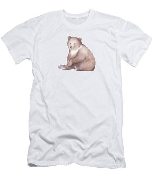 Men's T-Shirt (Slim Fit) featuring the painting Bear Watercolor by Taylan Apukovska