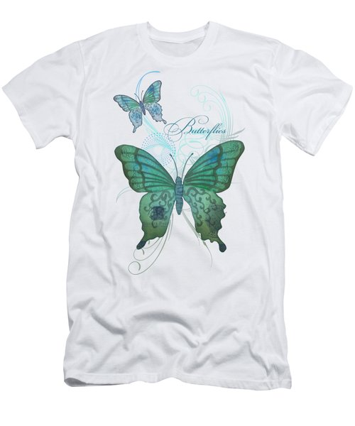 Beautiful Butterflies N Swirls Modern Style Men's T-Shirt (Athletic Fit)