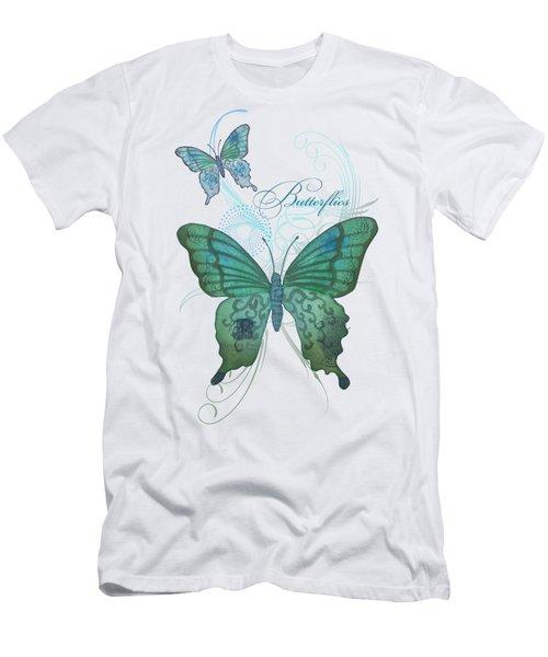 Beautiful Butterflies N Swirls Modern Style Men's T-Shirt (Slim Fit)