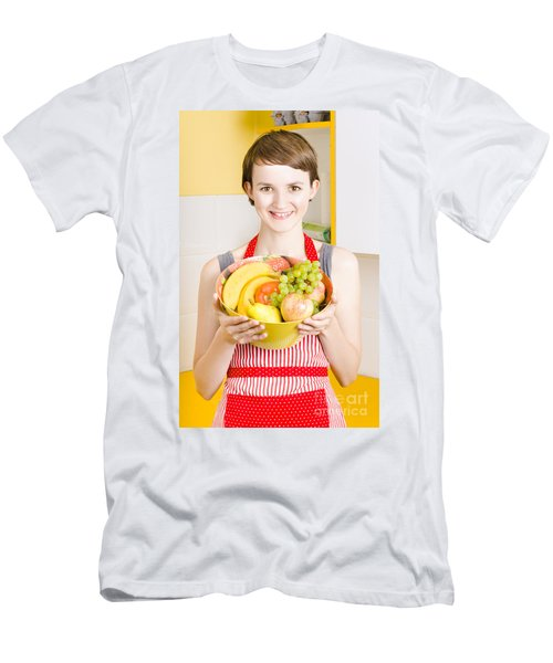 Beautiful Woman With Smile And Fresh Fruit Bowl Men's T-Shirt (Athletic Fit)