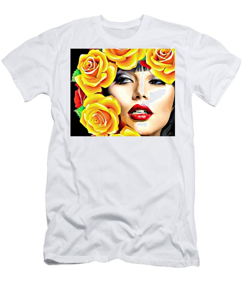Beautiful Woman Yellow Roses Pop Art Men's T-Shirt (Athletic Fit)