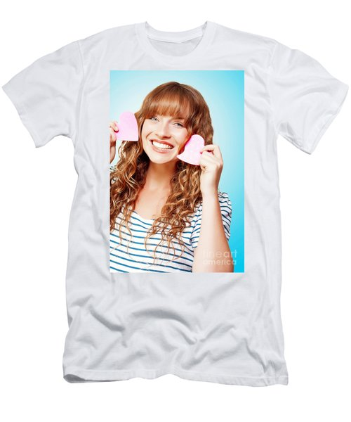 Beautiful Young Woman In A Love Heart Romance Men's T-Shirt (Athletic Fit)
