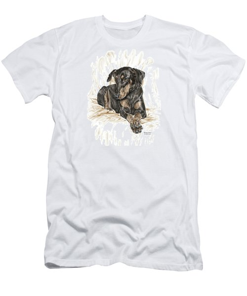 Beauty Pose - Doberman Pinscher Dog With Natural Ears Men's T-Shirt (Athletic Fit)