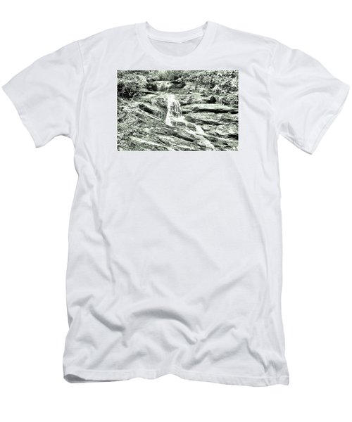Becky Branch Falls In Green Monochrome Men's T-Shirt (Slim Fit) by James Potts