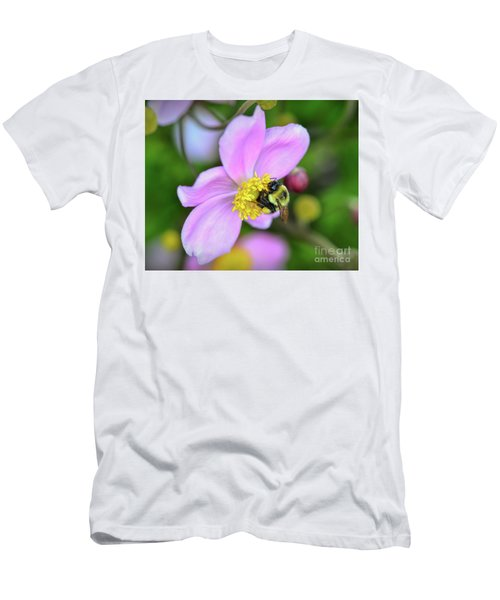 Men's T-Shirt (Athletic Fit) featuring the photograph Bee And Japanese Anemone by Kerri Farley