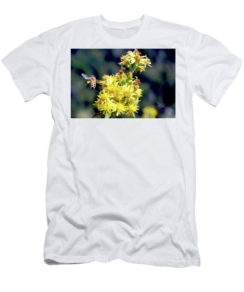Bee On Goldenrod Men's T-Shirt (Slim Fit) by Meta Gatschenberger