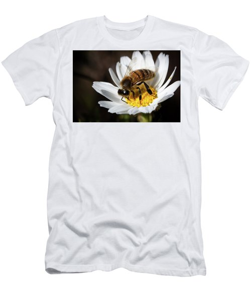 Men's T-Shirt (Slim Fit) featuring the photograph Bee On The Flower by Bruno Spagnolo